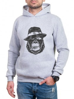 Hanorac pentru bărbați în gri cu imprimeu de maimuță