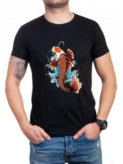 Tricou bărbătesc negru cu pește Yakuza