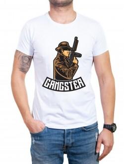 Tricou în alb Gangster