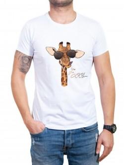Tricou alb pentru bărbați cu girafă
