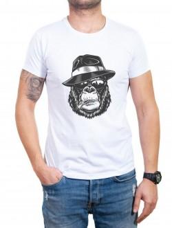 Tricou bărbătesc în alb Monkey