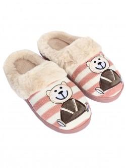 Papuci cu ursuleți de pluș - roz