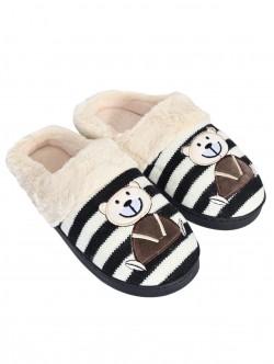 Papuci cu ursuleți de pluș - negri