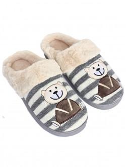 Papuci cu ursuleți de pluș - gri