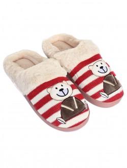 Papuci cu ursuleți de pluș - roșii