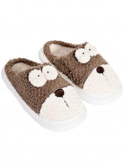 Papuci pufosi pentru caini in maro