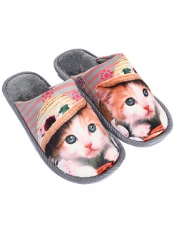 Papuci gri cu pisoi