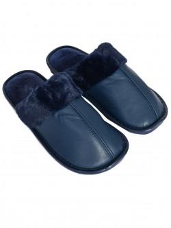 Papuci bărbați pufoși în albastru