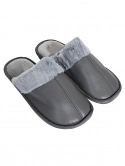 Papuci bărbați pufoși în gri