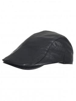 Basca negru din piele ecologică pentru bărbați