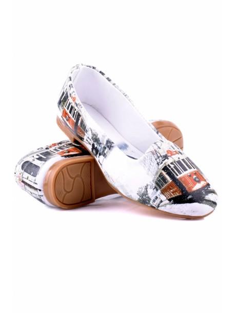 Pantofi London albi